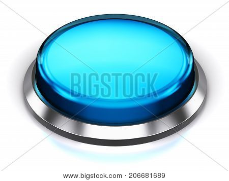 3D render illustration of the blue glossy push press button or icon with shiny metal bezel isolated on white background with reflection effect