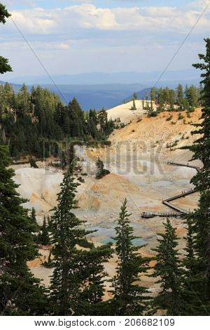 Geyser in Lassen Volcanic National park in California, USA
