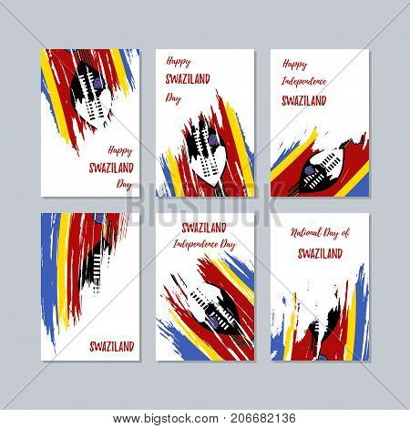 Swaziland Patriotic Cards For National Day. Expressive Brush Stroke In National Flag Colors On White