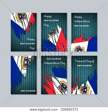 Sint Maarten Patriotic Cards For National Day. Expressive Brush Stroke In National Flag Colors On Da