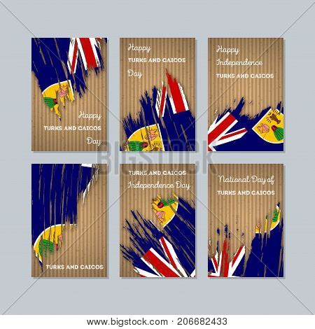 Turks and Caicos Patriotic Cards for National Day. Expressive Brush Stroke in National Flag Colors on kraft paper background. Turks and Caicos Patriotic Vector Greeting Card. poster