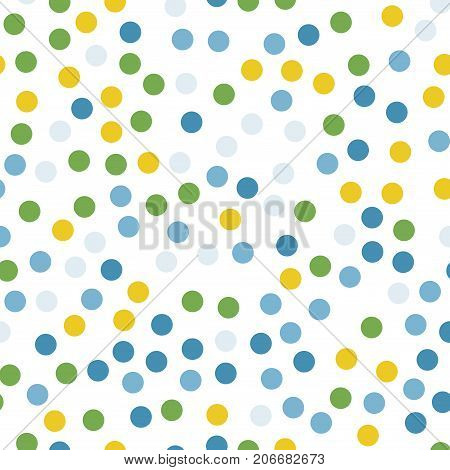 Colorful Polka Dots Seamless Pattern On Black 12 Background. Symmetrical Classic Colorful Polka Dots