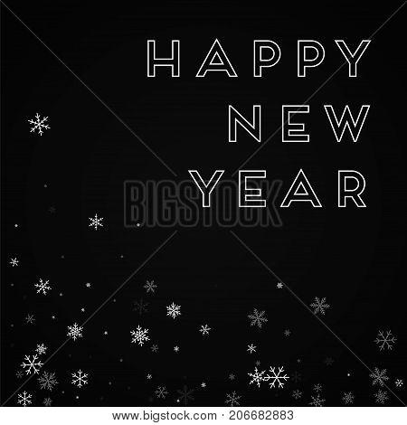 Happy New Year Greeting Card. Sparse Snowfall Background. Sparse Snowfall On Red Background. Gracefu