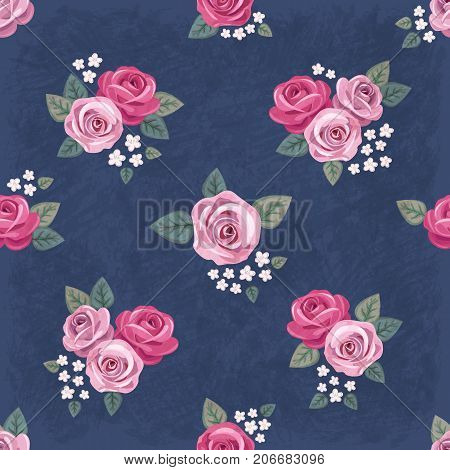 Seamless vintage romantic pattern with pink roses and white flowers on dark blue shabby background. Retro style. Shabby chic design. Perfect for scrapbooking