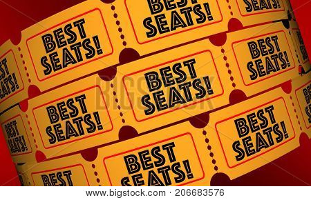Best Seats Tickets Front Row Theater 3d Illustration