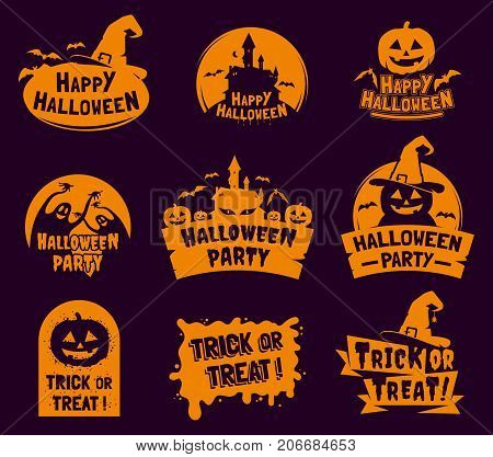 Set of stylized Halloween logo, badges, labels isolated on dark background. Happy Halloween traditional decorative elements. Applicable for greeting cards,invitations, posters, party flyers.