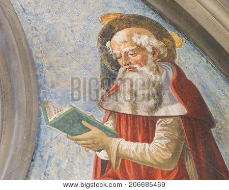 Fresco In San Gimignano - Saint Jerome