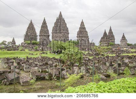 Hindu temple named Candi Prambanan located in Java a island of Indonesia