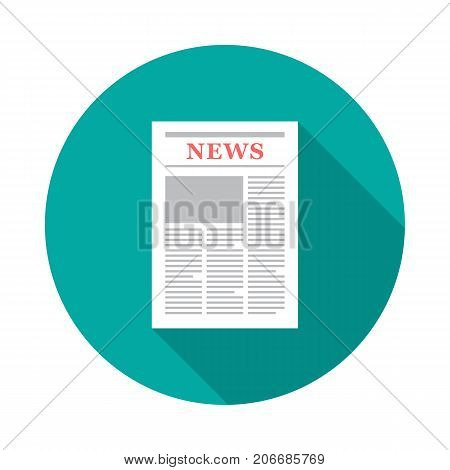 Newspaper circle icon with long shadow. Flat design style. Newspaper simple silhouette. Modern minimalist round icon in stylish colors. Web site page and mobile app design vector element.