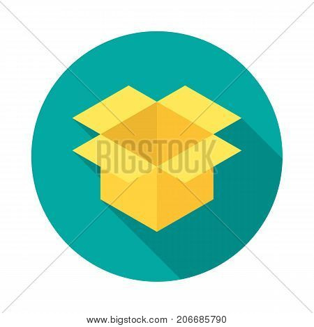 Box circle icon with long shadow. Flat design style. Parcel simple silhouette. Modern minimalist round icon in stylish colors. Web site page and mobile app design vector element.