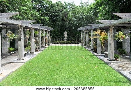 Miami, Florida - June 27, 2007: Villa Vizcaya Museum and Gardens Brickell Miami completed circa 1923