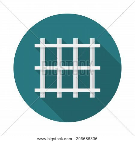 Prison bars circle icon with long shadow. Flat design style. Prison grid simple silhouette. Modern minimalist round icon in stylish colors. Web site page and mobile app design vector element.