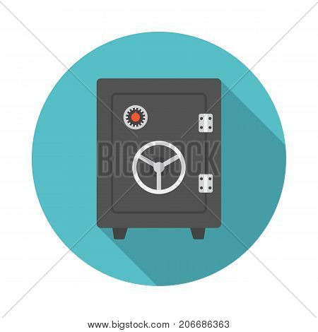 Vault circle icon with long shadow. Flat design style. Safe simple silhouette. Modern minimalist round icon in stylish colors. Web site page and mobile app design vector element.