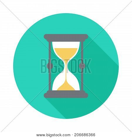 Sand watch circle icon with long shadow. Flat design style. Sand watch simple silhouette. Modern minimalist round icon in stylish colors. Web site page and mobile app design vector element.