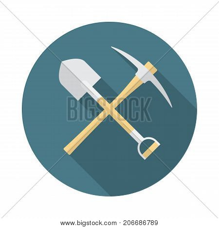 Shovel and pickaxe icon with long shadow. Flat design style. Round icon. Shovel and pick axe silhouette. Simple circle icon. Modern icon in stylish colors. Web site page vector element.