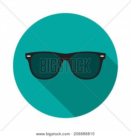 Sunglasses circle icon with long shadow. Flat design style. Sunglasses simple silhouette. Modern minimalist round icon in stylish colors. Web site page and mobile app design vector element.