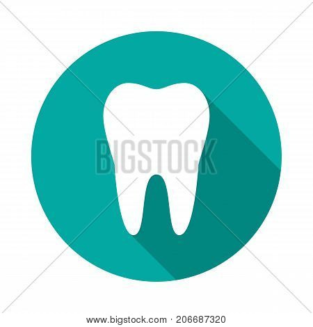 Tooth circle icon with long shadow. Flat design style. Tooth simple silhouette. Modern minimalist round icon in stylish colors. Web site page and mobile app design vector element.