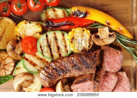 Tasty juicy meat with vegetables, closeup