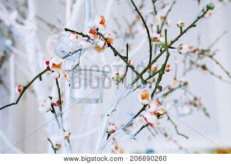 wedding decor white and green tree branch with blossoming buds flowering tree branches with white flowers and a garland of candlesticks branch with blossoms decorated background horizontal