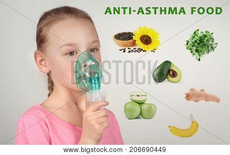 Collage with anti-asthma food and little girl using nebulizer on grey background