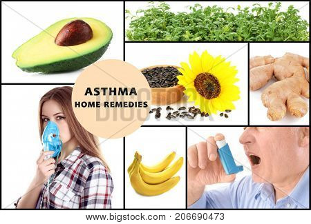 Collage with asthma home remedies and people