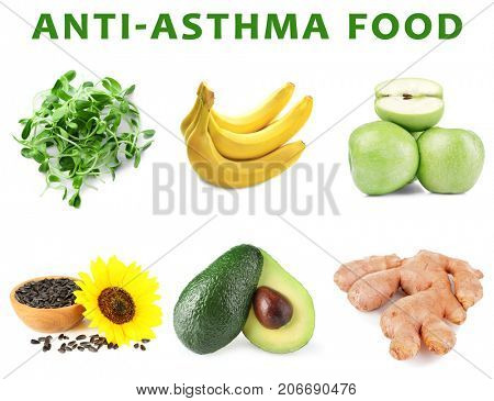 Collage with anti-asthma food on white background