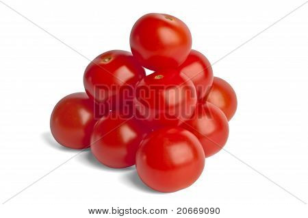 Pyramid Is Built Of Small Red Cherry Tomatoes