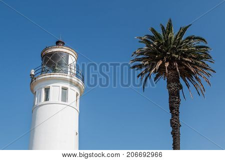 RANCHO PALOS VERDES, CALIFORNIA - JULY 9, 2017:  The upper portion of the Point Vicente lighthouse, built in 1926 and fully automated and operated by the U.S. Coast Guard since 1971.