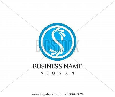 S letter water splash logo design template