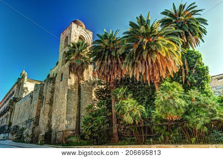 St. John of the Hermits church in Palermo. Sicily. church showing elements of Byzantine, Arabic and Norman architecture
