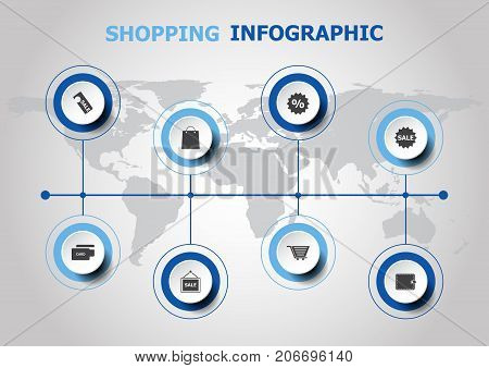 Infographic design with shopping icons, stock vector
