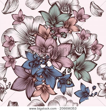 Floral pattern with engraved hand drawn flowers in vintage style