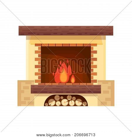 Vector fireplace icon logo design in flat style. Fire warm, Cozy Home interior - stock vector illustration.