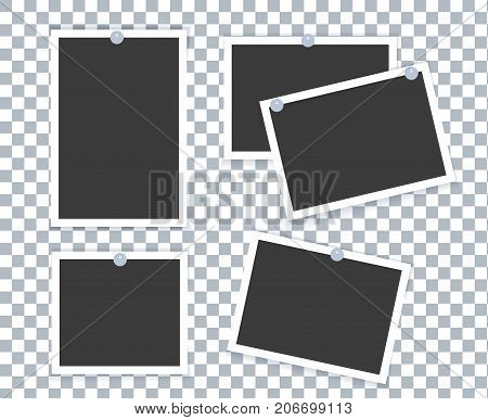 Realistic Photo Frame placed on transparent background with different shadow effect and empty space for photo. Retro Photo Frame Template photo design. Vector illustration isolated.