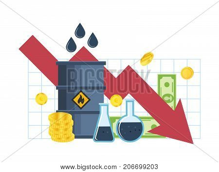 Concept of the crisis, the drop in incomes and profits, fall in the cost of oil. Fall in prices for gasoline and oil, trading pricing courses, investments, management. Vector illustration isolated.