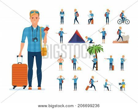 Set of young traveler man. Adventure travel. Summer vacation. Traveler man in various situations: gathering, searching for route, bathing, rest, hiking. Illustration in cartoon style front, rear view