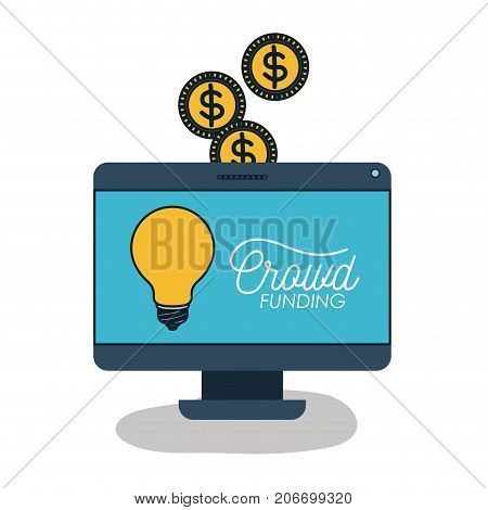 desktop computer with light bulb and text crowd funding in screen and coins on top in white background vector illustration