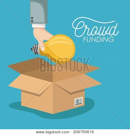 crowd funding poster with hand depositing bulb in cardboard box in blue background vector illustration