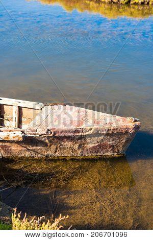 Ebro Delta estuary and wetlands Tarragona Catalunya Spain. Copy space for text. Vertical