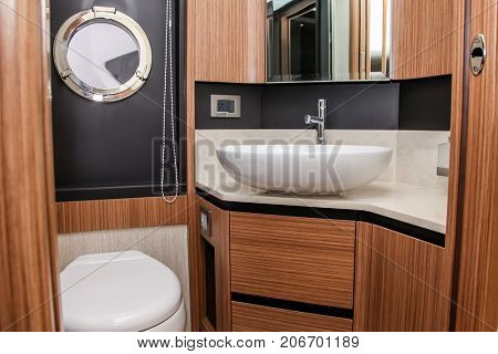 NORWALK, USA - SEPTEMBER 21, 2017: Absolute 50FLY bathroom interior view from exhibit in Norwalk Boat Show 2017