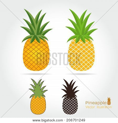 Pineapple vector icon cartoon style isolated on white background. Pineapple vector illustration. Pineapple isolated black and color icons vector silhouette. Pineapple fruit food vector flat style