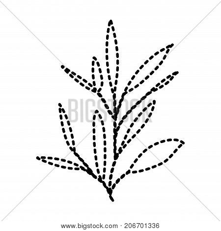 ramification with leaves on dotted silhouette vector illustration
