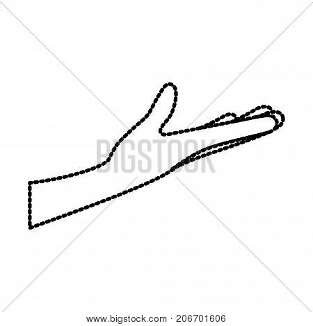 arm extended hand gesture on dotted silhouette vector illustration