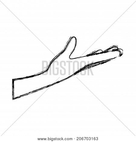 arm extended hand gesture on blurred silhouette vector illustration