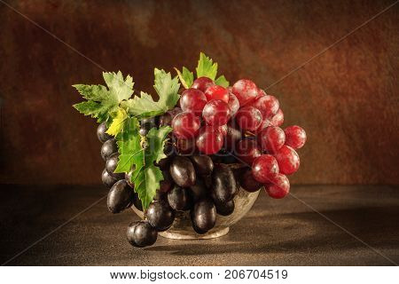 Still Life With Grape In The Antique Copper Tin Cup