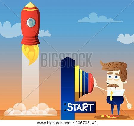 Happy smiling successful businessman pushing the start button. Start up business concept. Vector cartoon character illustration.