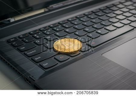 Photo Golden Bitcoins New Virtual Money