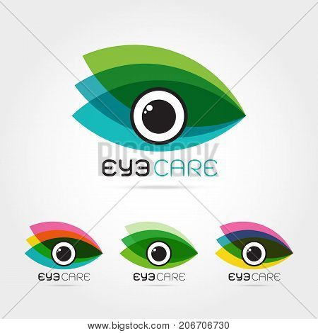 Vector illustration of abstract human eye in colorful leaves frame. Logo design template. Concept for optical glasses shop oculist ophthalmology makeup stylist research. Natural organic eye care.