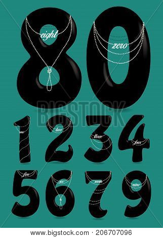 Set of Black Numbers with Pearl Necklaces and Texts. One two three four five six seven eight nine zero. Vector Illustration