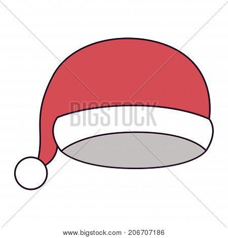 christmas cap santa claus on colorful silhouette vector illustration